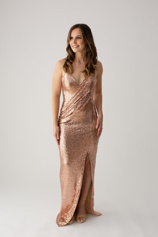 BARIANOAMBERDRAPPEDSEQUINGOWN